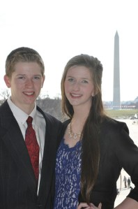Thomas and Mary pose for a photo while sightseeing in D.C.