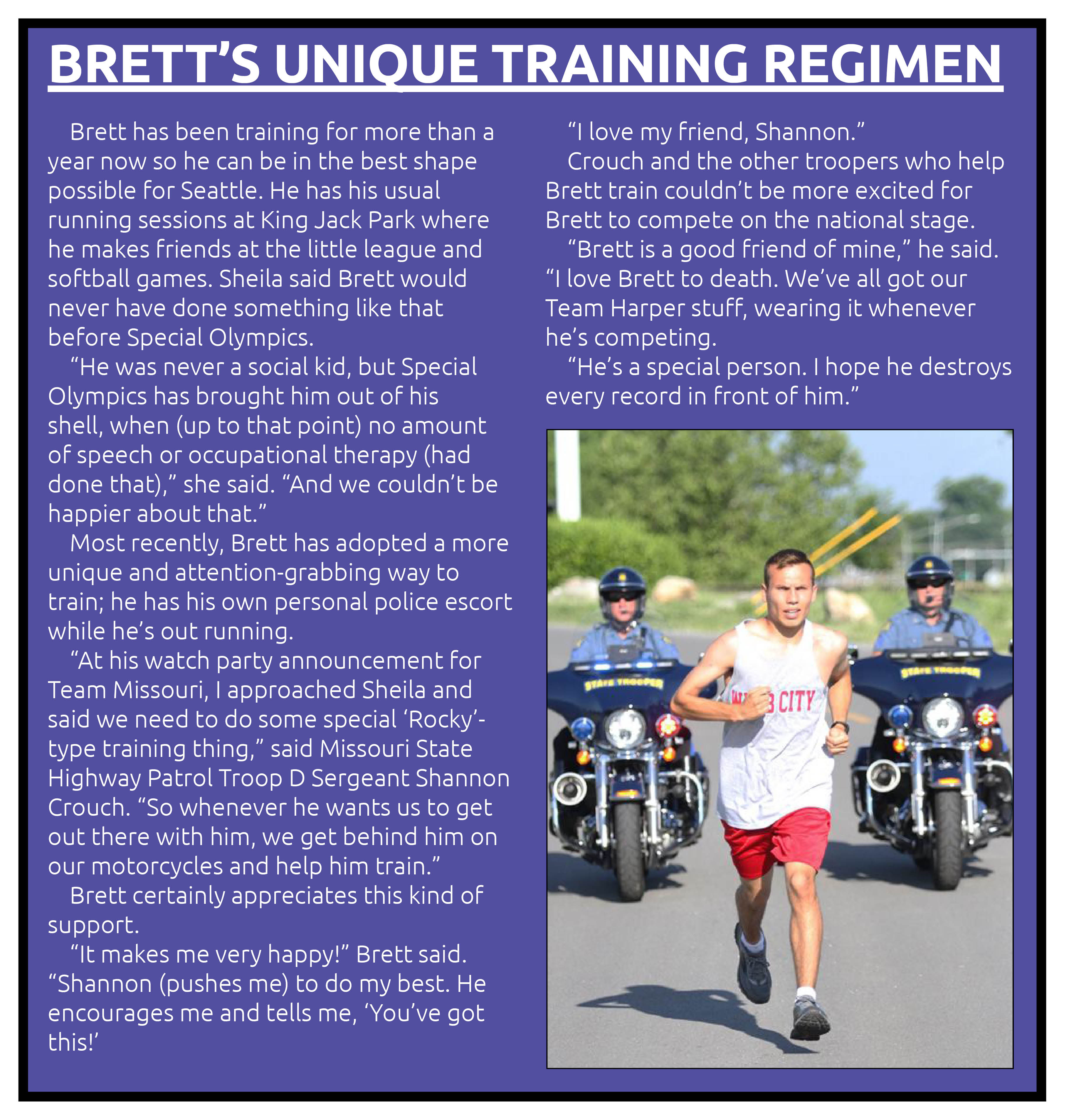 Brett's training pullout story